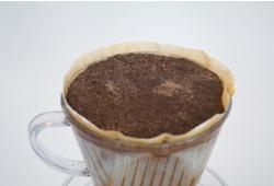 コーヒー粉を膨らます